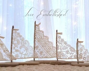 Set of 5 Antique Lace Driftwood Beach Decor Sailboats Bohemian Inspired Romance Seaside Lakeside Cottage Photo Props Wedding Decorations