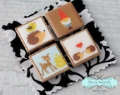 Magnet Set of 4 - Woodland Animals Gnome Deer Bird Hedgehog
