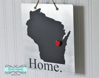 Wisconsin Home Sign Magnet board with Chalkboard State and Red Heart Magnet