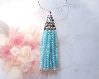 50% Off Antique Silver and Beaded Tassel Aqua Blue , Crystal Tassel Boho Chic trendy jewelry supplies Jewelry Tassel TAS0121 J16