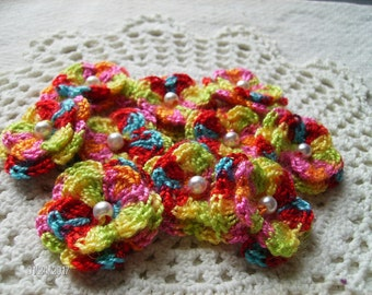 Crochet Double Layered Flowers in Carnival set of 10
