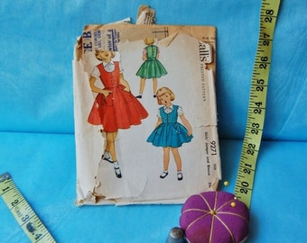 50% off Holiday Sale Vintage McCall's 9271 Girls Dress and Shirt Pattern 1953 Size 6