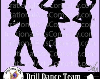 Drill Dance Team Silhouettes set 5 - with 3 EPS & SVG Vinyl Ready files and 3 PNG Digital Files and Small Commercial License