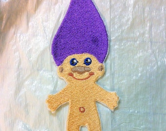 Adorable Troll Doll Hand Crafted Iron on Patch - Applique - 3 Sizes - FREE U.S. Shipping - You choose Hair Color