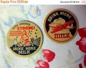 Winter Sale - Vintage Rare War Time Milk Bottle Caps, Drink More Milk, Make America Strong, War Plane, Dairy Ephemera