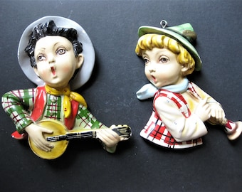 Vintage Chalkware Boys with Instruments, Horn and Banjo, Colorful with Many Details, Wall Hangings