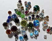 Vintage Swarovski Rhinestones in Silver Cup Settings - Assorted Sizes and Colors  (60)