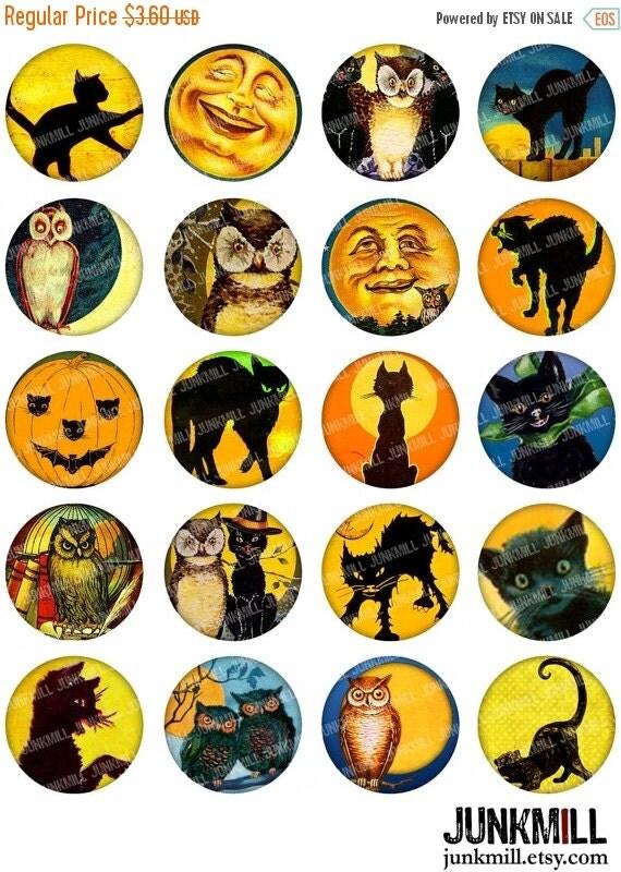 "55% OFF SALE FULL Moon - Digital Printable Collage Sheet - Vintage Black Cats, Jack-o-Lanterns & Halloween Owls, 1"" Circles (25 mm) / 1.25"""