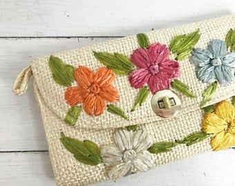 Vintage Straw Clutch Handbag with Colorful Raffia Straw Flowers- Handmade in the Phillipines