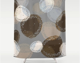 Big Graphic Seed Pod Botanical Nature Fabric Shower Curtain Neutral Colors