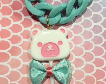 White Chocolate Bear Lollipop Bow Heavy Chain Statement Necklace