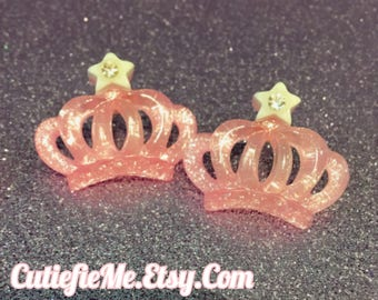 Pink Princess Tiara Crown Stud Earrings, 2 colors