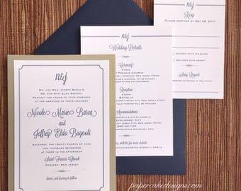 A wedding invitation event stationery design by papercakedesigns wedding invitation with border 2 layer 5x7 card custom design typography stopboris Gallery