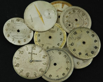 Vintage Antique Watch Dials Steampunk  Faces Parts Altered Art Industrial O 60