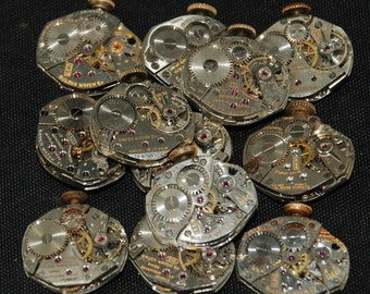 Vintage Watch Movements Parts Steampunk Altered Art Assemblage RE 87