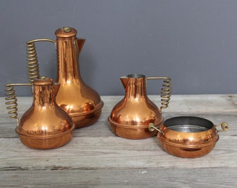 Copper Coffee & Tea, Sugar, Creamer Set
