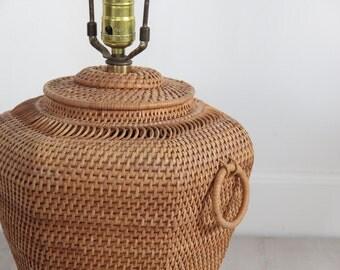 Handmade Woven Boho Basket Lamp