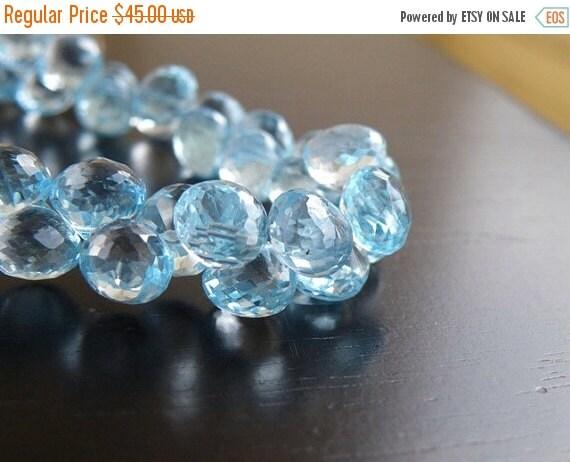 Final 51% off Sale Sky Blue Topaz Gemstone Briolette Faceted Onion Drop 8mm 10 beads