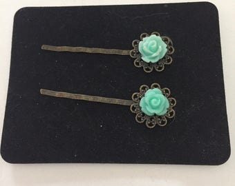 Aqua Blue Flower Hair clips - Bobby Pins