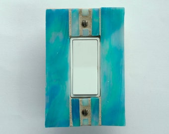 Iridescent Turquoise Switch Plate, Decora Light Switch Cover, Dimmer Cover Plate, Stained Glass Switchplate, Outlet Cover, Wall Plate, 8563
