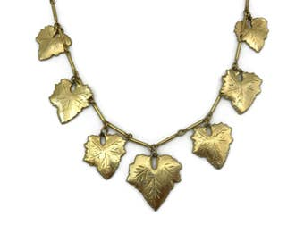 Gold Leaf Necklace - Leaves Costume Jewelry