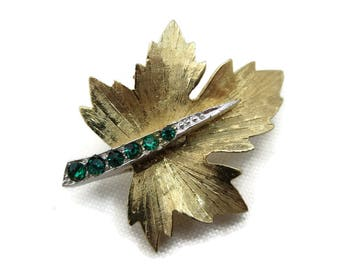 Vintage Boucher Brooch - Gold Leaf, Green Rhinestones 1960s Costume Jewelry