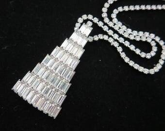 Art Deco Rhinestone Necklace - Lavalier Pendant, Clear Crystal Prom Wedding Jewelry