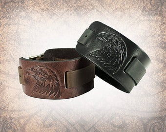 Eagle Watch Cuff, Watch Cuff, Leather Watch Strap, Leather Watch Band, Brown Watch Cuff, Men's Watch Cuff - Custom to You (1 cuff only)
