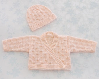 PREMATURE / NEWBORN Baby Girl Wrap Sweater and Hat Set - to fit 35 week premie weighing from 5 to 10 lbs (2.3 to 4.5 Kg) - peach baby yarn