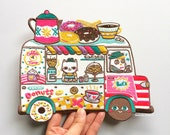 Coffee and Donuts Truck XXL Back Patch