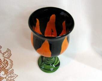 Pottery Wine Goblet Hand Painted Ceramic Floral Wine Glass Orange Tiger Lily on Etsy