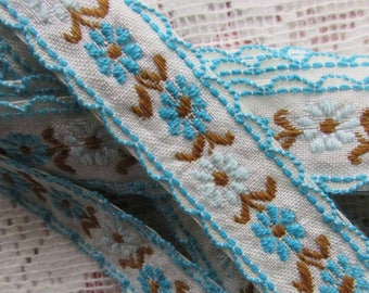Italy 3 Yards Vintage Embroidered Folkloric Fabric Sewing Trim Blue And White BD T-1