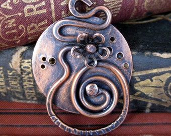 rustic copper pendant Daisy LONS OOAK original handmade pendant