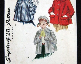 3147 Simplicity 1950s sewing pattern girls coat topper and Beret size 8 non printed pattern