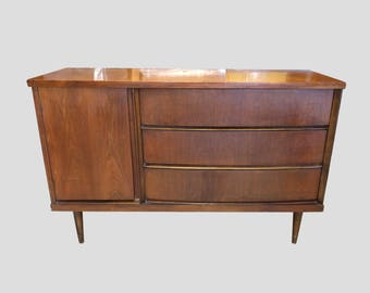 "49"" mid century modern BASSETT walnut lowboy dresser & mirror"