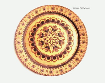 Vintage Carved Wooden Plate / Wall Art, Made in Poland