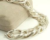 Italy Sterling Silver Bracelet Large Double Link Bracelet