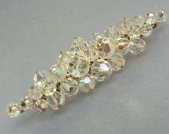 Vintage Aurora Borealis Faceted Crystal Bead Brooch
