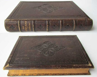 Antique Fine Binding Book, Victorian 1870 The Gates Ajar Book with Tooled Leather and Gilt Fine Binding, Marbled End Papers, Illustrated
