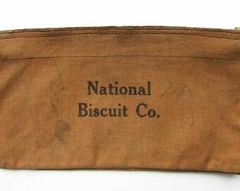 Vintage Khaki Canvas BOHO Bag, Vintage Money Deposit Bag, National Biscuit Co Bag, Steampunk Purse, Grunge Cell Phone Bag, Vintage  Zip Bag
