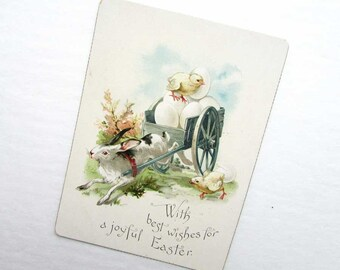 Antique Easter Greeting Card c 1890, Rabbit Drawn Card Full of Eggs w Baby Chick,  Easter Greeting Cards,  Paper Ephemera