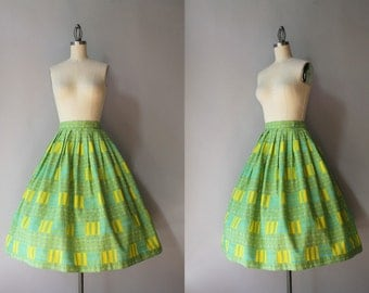1950s Cotton Skirt / Vintage 50s Modernist Print Pleated Skirt / Fifties Dots and Blocks MCM Skirt