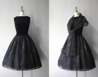Vintage 50s Dress / 1950s Little Black Party Dress / 50s Sparkling Chiffon and Velvet Cocktail Dress