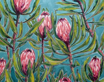 Pink Protea Painting Archival Wall Art Print Illustration