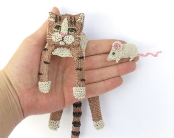 Cat shoulder brooch and mouse brooch - unusual unique jewelry, cute animal brooches