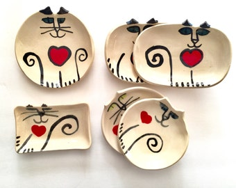 Valentine Pottery Cat plate dish handmade clay white blue eyes red heart choose your shape