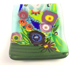 Lady Garden Colorful fused glass dish