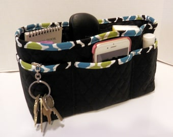 "Purse Organizer Insert/Large/Quilted/4"" Enclosed / Black"