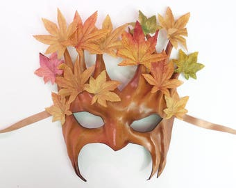 Leather Tree Mask with Fabric Leaves greenman greenwoman forest Groot Treebeard Ent costume festival