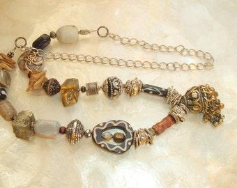 Bohemian, Ethnic, India, Kuchi Bell Pendant, Bone, Crystals, Opalite, Pyrite, Decorative Metal Beads, Handmade, Wood Slabs